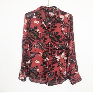 Zara | Red Floral Long Sleeve Blouse